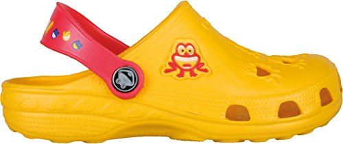 Coqui sabots pour enfant unisexe chaussures **lilas, fuchsia, bleu, rouge, bleu, jaune, rouge, bleu, noir ** - Yellow/Red