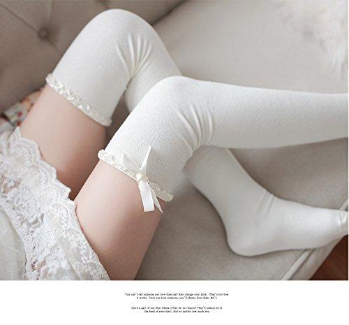 Sexy Über Die Knie-socken (DDDAA Knie Hohe Socken Bogen Schwarz Weiß Frauen Hohe Über Die Knie Socken Baumwolle Oberschenkel Hohe Strümpfe Japanische Strümpfe Sexy Dessous)