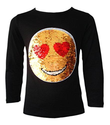 KINDER EMOJI EMOTICON SMILEY GESICHT TOPS BÜRSTE ÄNDERUNG SEQUIN 3-14 JAHRE (Ändern Gelben T-shirt)