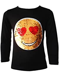 FILLES EMOJI EMOTICON VISAGE SOURIANT TOPS TEE TOP BRUSH CHANGEMENT SEQUIN 3-14 ANS