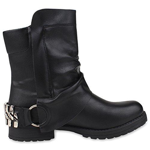 napoli-fashion Damen Stiefeletten Stiefel Biker Boots Nieten Warm Gefüttert Schuhe Jennika Schwarz Schnallen Black