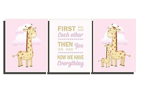Baby Girls Pink Brown Tan Nursery Decor Giraffe Safari Animal Bedroom Wall Art Set of 3 Prints Gift New Born Gift Baby Shower 8 x 10 inches