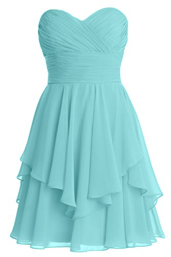 Turquoise Strapless Dress (MACloth Women Short Wedding Party Bridesmaid Dress Strapless Tiered Cocktail (Custom Size, Turquoise))