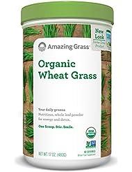 Amazing Grass - Herbe de Blé Biologique en Poudre (Organic Wheat Grass Powder) - 100% Bio - 60 Portions - 572 g