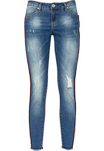 Sublevel Damen Jeans mit Seitlichem Streifen im Used Look Dark-Blue XS