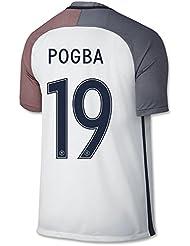 2016UEFA Euro Tasse de France 19Paul Pogba Away Footbal Soccer Jersey en blanc moyen Blanc - blanc