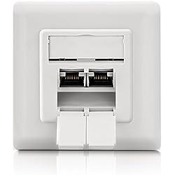 deleyCON 1x Cat 6a Universel Prise Réseau - 2X Port RJ45 - Blindé - Surface ou Affleurant - 1 Gigabit Ethernet Réseau - EIA/TIA 568B - Blanc