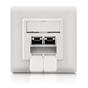 deleyCON PREMIUM CAT 6 Universal Netzwerkdose - 2x RJ45 Port - geschirmt - Aufputz/Unterputz - 1 Gigabit Ethernet Netzwerk - EIA/TIA 568B - Weiß/Uniweiß