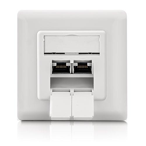Enchufe de red universal deleyCON CAT 6 - 2 puertos RJ45 - apantallado - Montaje con conectores/empotrado - 10 Red gigabit ethernet - EIA/TIA 568A - Blanco/blanco uniforme