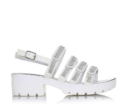 LELLI KELLY - Sandalo bianco in pelle, dal design accattivante, con applicazione di strass sulle fasce anteriori, Bambina, Ragazza-29