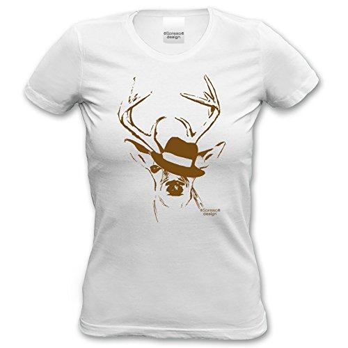 Soreso Design T-Shirt Hirsch mit Hut für Frauen, Damen kurzarm, Rundhals  Farbe