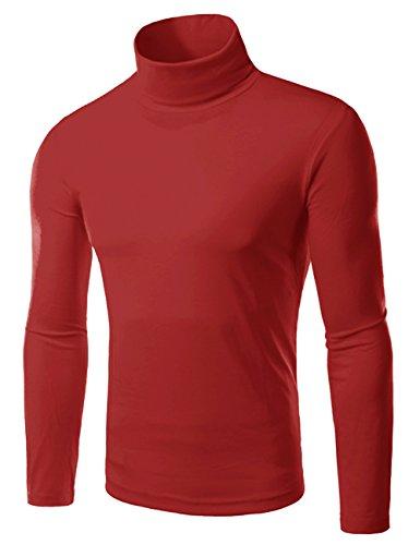 EMMA Herren Turtle Polo Neck Rollkragen Langarm Baumwolle Bottom T-Shirt Jumper Tops Schlank Plain Winter Elastisch Tops Oberteiler Pullover Weinrot 1 (High Neck)