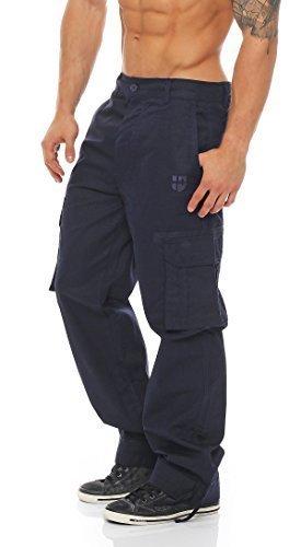 Gennadi Hoppe Herren Cargo Hosen Freizeithose lange Cargo Pant (L, blau)