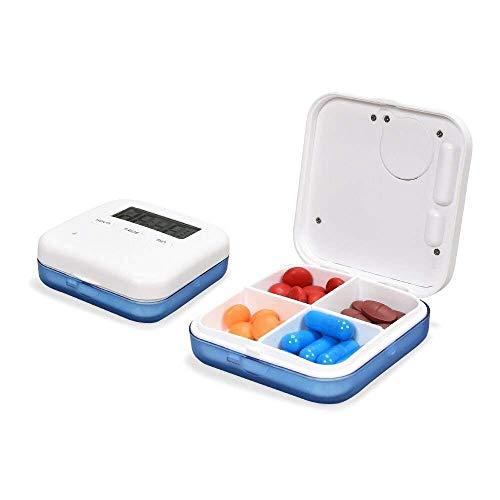 Zeit Pille Erinnerung (LHXHL Smart Home Tragbare Digitale Pille Box Kleine Pille Box Licht Wasserdicht Smart Wecker Medikamente Erinnerung 4 Fächer Frühstück Mittagessen Zeit Abend Lagerung)