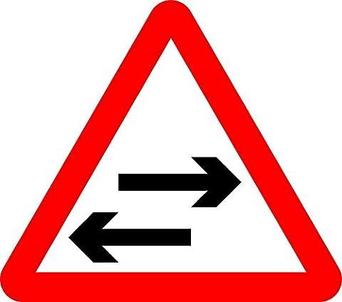 bidirectionnelle du trafic Croix One-Way Route Route de sécurité–3mm en aluminium Panneau doté de bandes de 2canal vers l