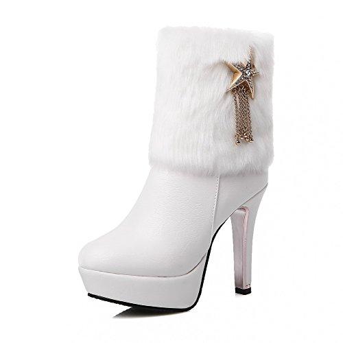 AgooLar Damen Hoher Absatz Niedrig-Spitze Rund Zehe Weiches Material PU Stiefel, Weiß, 36