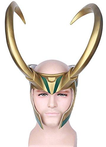 Yacn Elmo Loki con le corna, la corona norvegese Loki Crown di Thor Ragnarok per la maschera loki di Halloween (gold)