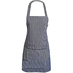 TININNA Vintage para mujer diseño a rayas algodón rayas verticales delantal de algodón puro Cocinar con Bolsillos para Mujeres Niñas Azul profundo Azul profundo