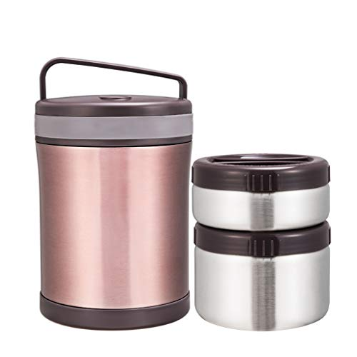 MLXBWH Isolierte Lunchbox, Edelstahl Vakuumisolierung Fass Student Braun Lunchbox Lunchbox (Geschenk-Isolierung Paket)