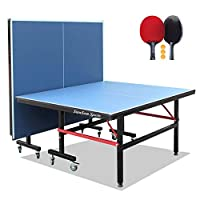 Stansom Foldable Table Tennis Tables with Quick Clamp Net and 2 Rackets 3 Balls, 40mm Legs Ping Pong Table, 10 Minute Easy Assembly - Indoor & Outdoor Compatible (18mm Tabletop)