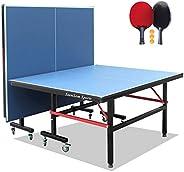 طاولات تنس الطاولة القابلة للطي من ستانسوم مع شبكة تثبيت سريعة وممضاعبين 3 كرات، طاولة تنس للأرجل 40 مم، سهلة