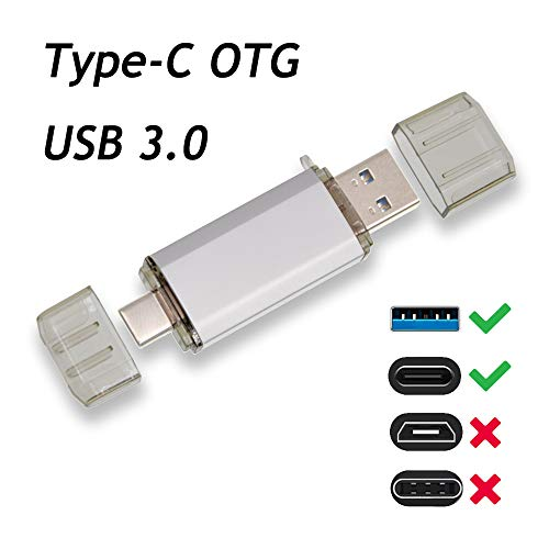 64 GB Flash-Laufwerk Type-C 2 in 1 Speicherstick OTG (On The Go) USB Stick Silber Pendrive Uflatek USB 3.0 Flash Drive Data Datenspeicher für Handy Telefon und PC
