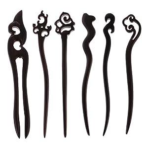Gazechimp 6x Haarstift Haarnadeln mit Gemischt Muster Retro Stil Haarschmuck haarstab