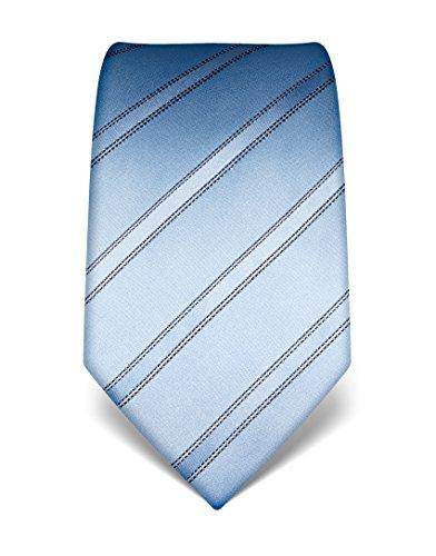 Vincenzo Boretti Cravate homme, pure soie, à rayures bleu cla