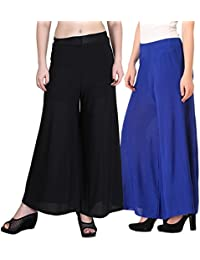 Mango People Products Indian Ethnic Rayon Designer Plain Casual Wear Palazzo Pant For Women's ( Black And Royal... - B075PYBGW5