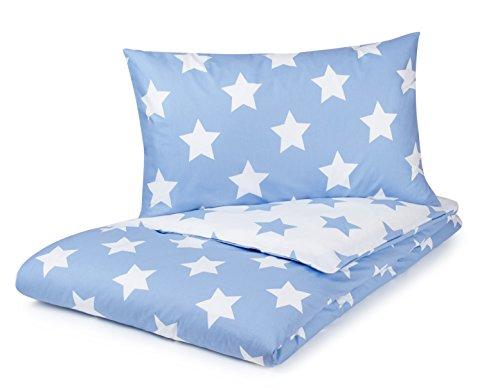 Juego de funda de edredón, azul con estrellas blancas