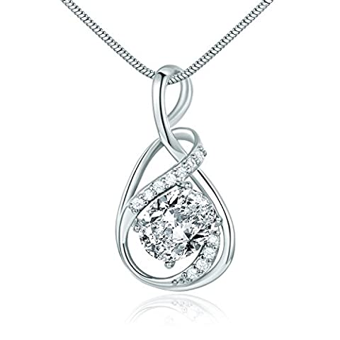 GULICX Valentine Day White Gold Electroplated Prong Round Ribbon Necklace Pendant Charm Cubic