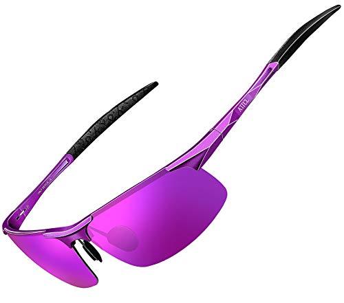 ATTCL Herren Polarisierte Treiber Glasses Sport Sonnenbrillen Al-Mg Metallrahme Ultra leicht 8177 purple-purple