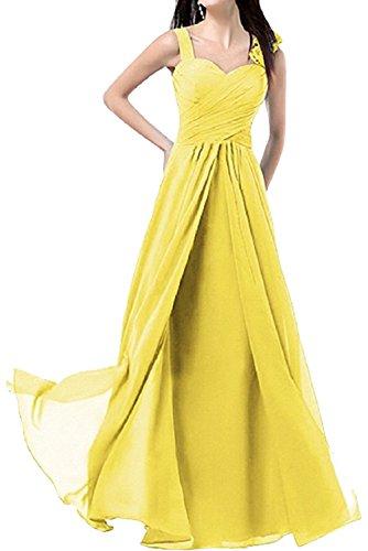 Gorgeous Bride Schlicht Träger A-Linie Lang Tanzkleider Partykleider 2017 Damen Abendkleider Lang Cocktailkleider Ballkleider Gelb
