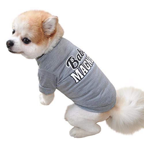 YWLINK Haustier Hund Katze Brief Drucken Weste-T-Shirt Sommer-Shirt Pet Kleidung(Grau,XS) (Süßeste Hund Kostüme)