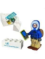 Invierno T5Cache Hunter With Trackable Brick Lego® Figure trackables TB Coin, Coins Travel Día ® Travel Bug Geocaching colgante Geocaching regalo trackables, TB, Coin, monedas, con Travel Bug