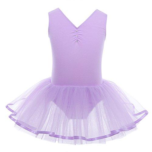 Baumwolle Mesh Rock (YiZYiF Mädchen Ballettanzug Ballettkleid Ballett Trikot Turnanzug Mädchen Kleider 98 104 110 116 122 128 140 152 164 (110-116, V-Ausschnitt ( Lila)))