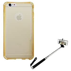 DMG Ultra Thin Flexible TPU Extra Protection and Grip Back Cover Case For Apple iPhone 6 Plus (Golden) + Selfie Stand Stick