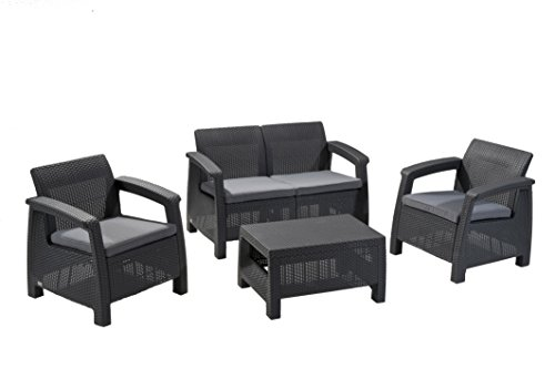 Keter Korfu Lounge Set, Rattan, graphit / graues Lounge Set in Rattanoptik, moderne Lounge...