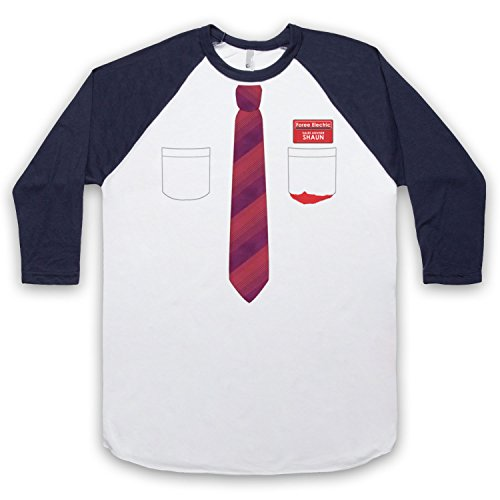 Inspiriert durch Shaun Of The Dead Shirt And Tie Unofficial 3/4 Hulse Retro Baseball T-Shirt Weis & Ultramarinblau