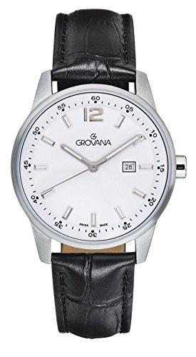 Grovana, orologio unisex, al quarzo, quadrante analogico bianco, cinturino in pelle nera, 7715.1533