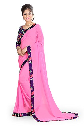 OOMPH! Chiffon Saree with Blouse Piece(rbaf_Rose Pink_Free Size)