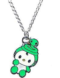 b3ca4cf5464e Bijoux niño collar colgante gato Hello Kitty verde y blanco