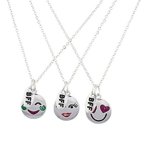 Lux Accessoires Argenté BFF emoji Rubis Pierre Verte Charm Ensemble collier