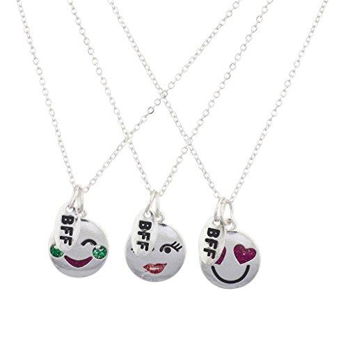 LUX Zubehör Silber Ton BFF Emoji-Rubin grün Stein Charm Halskette Set