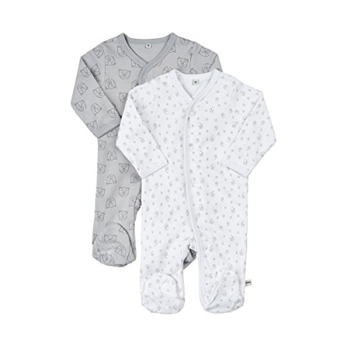 Pippi 2er Pack Baby Unisex Schlafstrampler mit Aufdruck, Langarm mit Füßen, Alter 1-2 Monate, Größe: 56, Farbe: Grau (Harbor Mist), 3821
