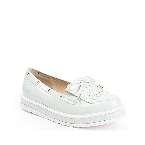 Ideal Shoes Mocassins Vernies à Franges Kanaya Vert