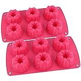 Webake 2 Pz Stampi per Torte in Silicone Kugelhopf Mini Tazzina per Flauto Antiaderente per Torte con Incisione a Vortice Teglia per Teglia 6 Cavità ø6.7 cm