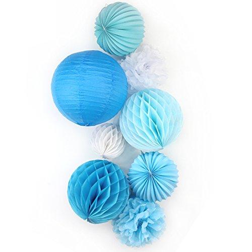 SUNBEAUTY 8er Set Tissue Papier Blume Pompom & Honeycomb Wabenball & Lampion Rosa Blau Serie Mixed Hochzeit Geburtstag Babyparty Dekoration (Blau)