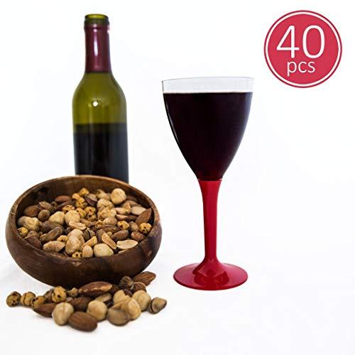 BlueRiver Einweg-Weingläser aus Kunststoff, BPA-frei, robust und elegant, Glas-Optik, Rot, 40 Stück