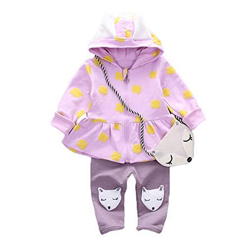 Rosenie Kinderkleidung Set Kleinkind Baby Hoodie Oberseiten Hosen Mode Druck Pullover mit Kapuze fest Fox Pants + Bag Sets Baby Bekleidungsset Warm Winter Mantel Outerwear +Hosen(Blau,90)